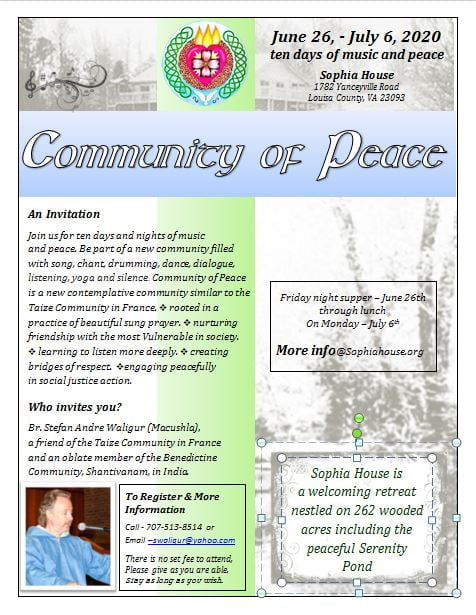 Community of Peace Summer Retreat: Ten Days of Music and Peace